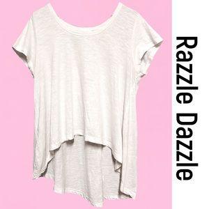 White Hi-Lo Layering T by RAZZLE DAZZLE